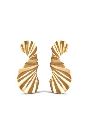 Enamel, Big Wave, Earring, Gold