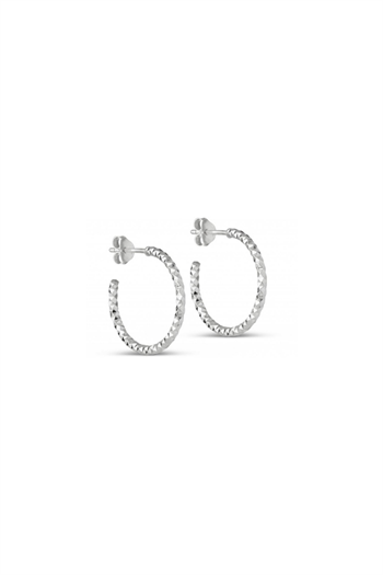 Enamel, Hoops, Diamond cut, Small, Silver