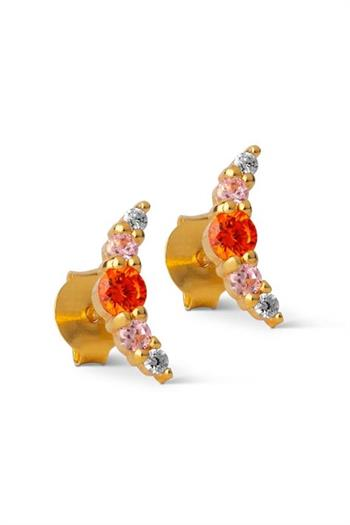 Enamel, Stud, Refina, Orange/Light Pink/Lavender
